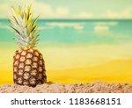 fresh pineapple on a sunny... | Shutterstock . vector #1183668151