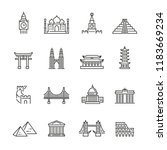 world landmarks related icons ... | Shutterstock .eps vector #1183669234