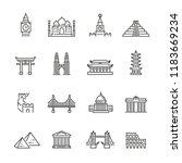 world landmarks related icons ... | Shutterstock .eps vector #1183669234