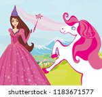beautiful fairy with magic wand | Shutterstock .eps vector #1183671577
