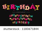 birthday vector font and... | Shutterstock .eps vector #1183671844