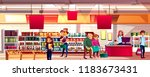 people in supermarket or... | Shutterstock .eps vector #1183673431