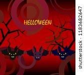 halloween bat night vector... | Shutterstock .eps vector #1183682647