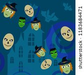 halloween autumn witch skull...   Shutterstock .eps vector #1183684471