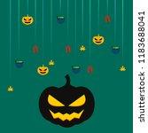 halloween autumn pumpkin fallen ... | Shutterstock .eps vector #1183688041