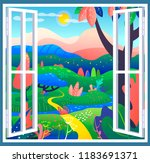 fantasy place with wonderful... | Shutterstock .eps vector #1183691371