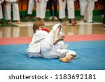 guy karate does kata at the... | Shutterstock . vector #1183692181