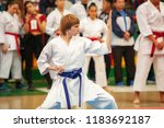 guy karate does kata at the... | Shutterstock . vector #1183692187