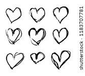 set of nine hand drawn hearts.... | Shutterstock .eps vector #1183707781