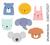 set of cute animals faces for... | Shutterstock .eps vector #1183712527