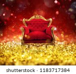red and gold luxury armchair... | Shutterstock . vector #1183717384