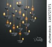 happy diwali. hanging paper... | Shutterstock .eps vector #1183727371
