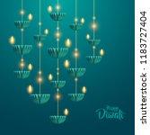 happy diwali. hanging paper... | Shutterstock .eps vector #1183727404