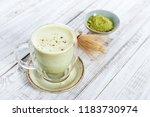 matcha green tea latte with... | Shutterstock . vector #1183730974