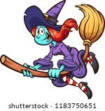 happy thin cartoon witch flying ... | Shutterstock .eps vector #1183750651