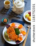 japanese style  lunch with... | Shutterstock . vector #1183752331