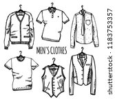hand drawn set of men's clothes ... | Shutterstock .eps vector #1183753357