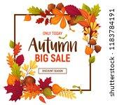 autumn sale poster with cartoon ... | Shutterstock .eps vector #1183784191