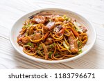 stir fried yakisoba noodle with ... | Shutterstock . vector #1183796671