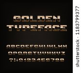 beveled golden alphabet font.... | Shutterstock .eps vector #1183799377