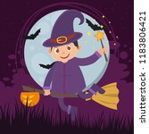 a halloween witch with the broom   Shutterstock .eps vector #1183806421