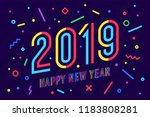 2019  happy new year. greeting... | Shutterstock .eps vector #1183808281