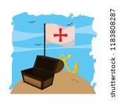 wooden chest box with flag...   Shutterstock .eps vector #1183808287