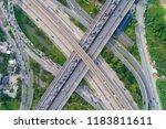 the curve of suspension bridge  ...   Shutterstock . vector #1183811611