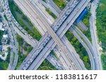 the curve of suspension bridge  ...   Shutterstock . vector #1183811617