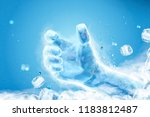 ice grabbing hand with flying... | Shutterstock . vector #1183812487