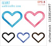 heart watercolor icon set.... | Shutterstock .eps vector #1183814497