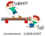 a boy comparison of balance and ... | Shutterstock .eps vector #1183816507