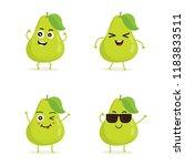 cute vector set of pear fruit...   Shutterstock .eps vector #1183833511