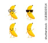 cute vector set of banana fruit ... | Shutterstock .eps vector #1183833514