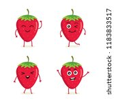 cute vector set of strawberry... | Shutterstock .eps vector #1183833517