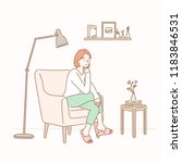 a girl sitting on a sofa in a... | Shutterstock .eps vector #1183846531