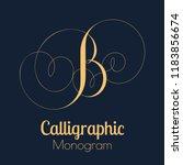 calligraphic monogram letter b... | Shutterstock . vector #1183856674