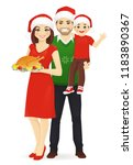christmas family portrait.... | Shutterstock .eps vector #1183890367