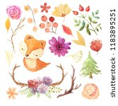 watercolor cute fox and pine...   Shutterstock . vector #1183895251