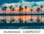 palm tree reflections in water... | Shutterstock . vector #1183901527