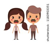 cartoon furious couple kawaii... | Shutterstock .eps vector #1183903351