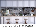 classic kitchen with wooden and ... | Shutterstock . vector #1183904707