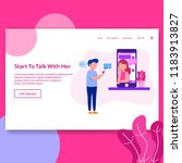 landing page start to chat...   Shutterstock .eps vector #1183913827