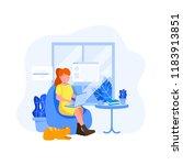 work from home illustration ... | Shutterstock .eps vector #1183913851