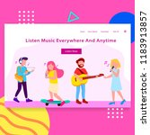 music app landing page ... | Shutterstock .eps vector #1183913857