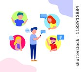 group chat illustration young...   Shutterstock .eps vector #1183913884