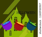 halloween pot with potion night ... | Shutterstock .eps vector #1183930507