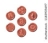 set of realistic bronze coins... | Shutterstock .eps vector #1183935697
