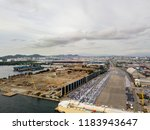 aerial view of logistics... | Shutterstock . vector #1183943647
