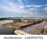 aerial view of logistics... | Shutterstock . vector #1183943701